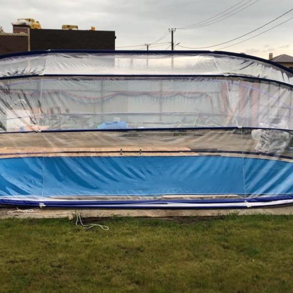 Тент для бассейна овальный Тентнавес 500х700 L200 (9 дуг 9 усиленных) из ПВХ 300 мкм купить с доставкой по РБ